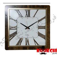 ساعت دیواری چوبی چهارگوش